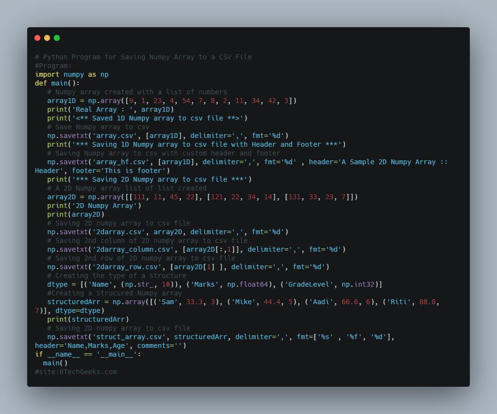 Python Program for Saving Numpy Array to a CSV File