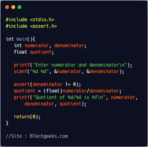 assert C Library Function
