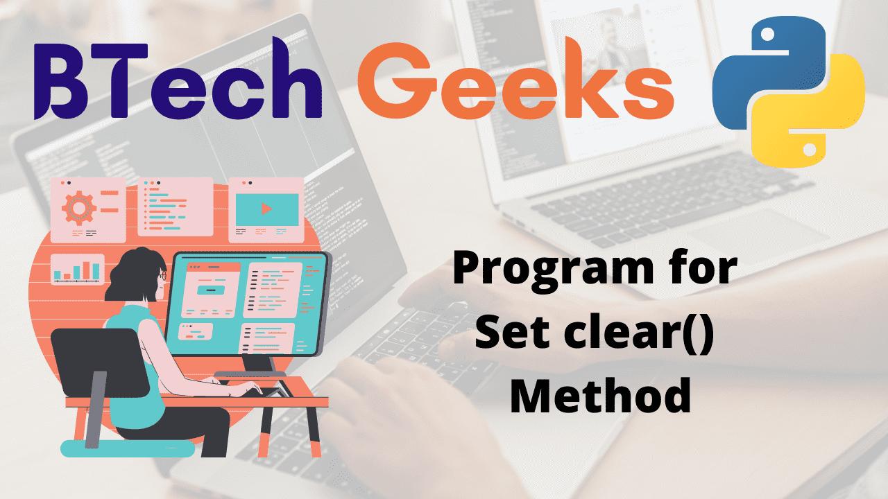 Program for Set clear() Method