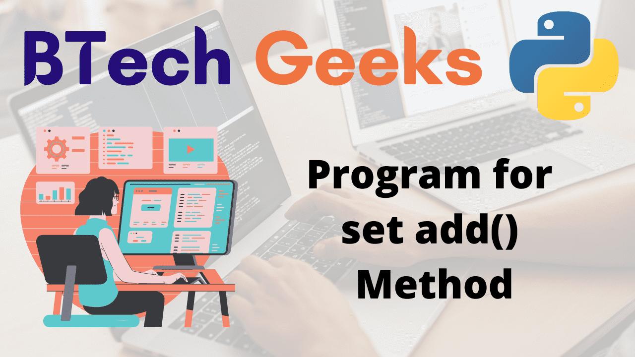 Program for set add() Method